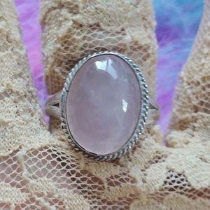 Genuine Mystic Rose Quartz Cabachon Rings
